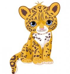 cute jaguar cub vector image vector image