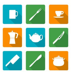 flat white silhouettes dinnerwarwe icons set vector image vector image