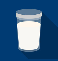 glass of milk icon in flat style isolated on white vector image