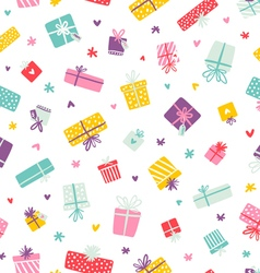 Party presents colorful pattern with hearts and vector image vector image
