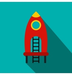 Red rocket with stairs on a playground flat icon vector image