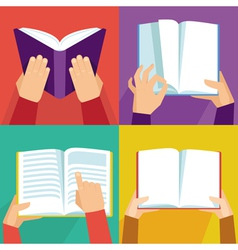 Set of hand holding books vector