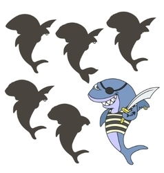 shark pirate vector image vector image