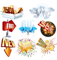 3d shopping tags vector image vector image