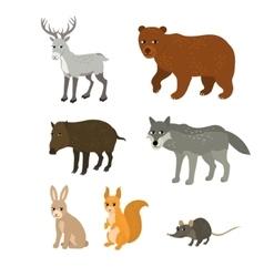 Cartoon set northern deer bear boar wolf rabbit vector image vector image