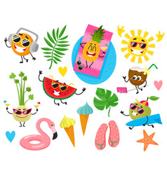 funny fruit characters and summer holiday items vector image