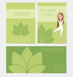 set of yoga studio business cards vector image