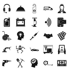 support icons set simple style vector image
