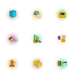 Wherewithal icons set pop-art style vector image vector image