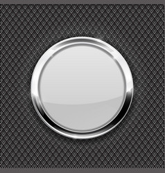 white round glass button on perforated background vector image vector image