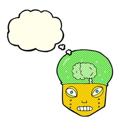 cartoon spooky robot head with thought bubble vector image