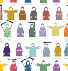 Funny death in bright robes seamless pattern vector image
