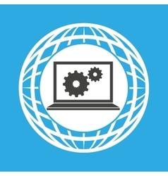 globe computer gears communication vector image