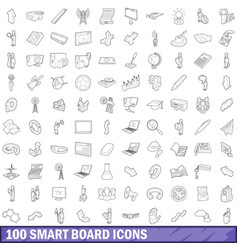 100 smart board icons set outline style vector image vector image