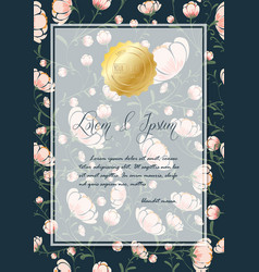 flowers poster template on blue background vector image
