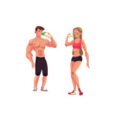 man and woman bodybuilders weightlifters drinking vector image vector image