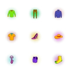 Types of clothes icons set pop-art style vector image vector image