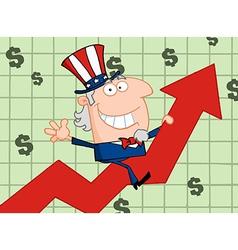 Waving Uncle Sam Riding A Growth Arrow vector image vector image