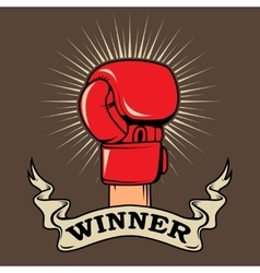 Winner Human hand in boxing glove Design element vector image