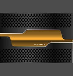 Abstract gold banner dark gray metal circle mesh vector