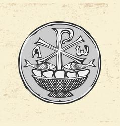 Ancient christian symbol jesus christ vector