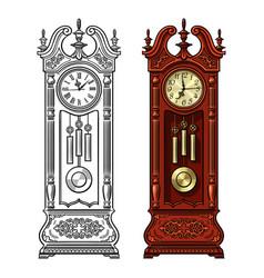 Antique grandfather pendulum clock hand drawn vector