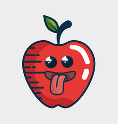 apple fresh fruit character handmade drawn vector image