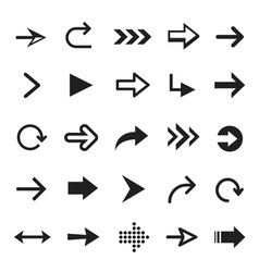 arrow icon set interface black curve and pointer vector image