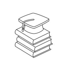 Back to school book graduation cap vector