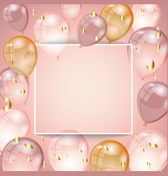Background with balloons and confetti vector