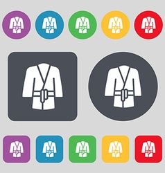 Bathrobe icon sign A set of 12 colored buttons vector