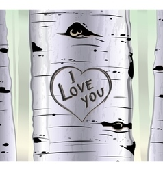 Birch tree card with heart and carved text i love vector image