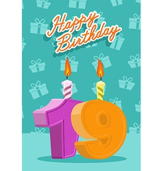 Birthday candle number 19 with flame vector image