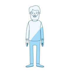 Blue silhouette shading cartoon full body man with vector