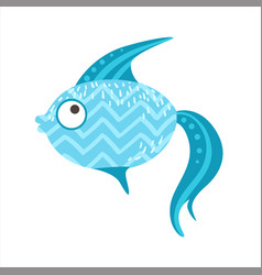Blue zigzag pattern fantastic colorful aquarium vector