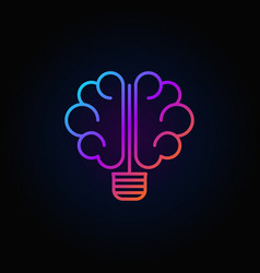 brain light bulb colorful icon vector image