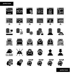 Browser and interface solid icons set vector