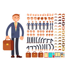 Cartoon businessman customizable character vector