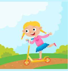 cartoon girl riding a bike having fun riding vector image