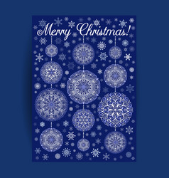 christmas card with mandala snowflakes on blue vector image