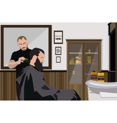 Client visiting hairstylist in barber shop vector image