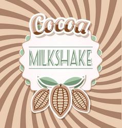 Cocoa milkshake label in retro style on twisted vector