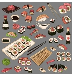 Colored Hand drawn sushi set vector image