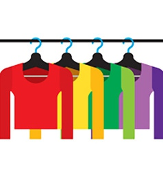Colorful Long Sleeves Shirts With Hangers vector image