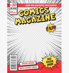 Comic book cover comics books title page funny vector