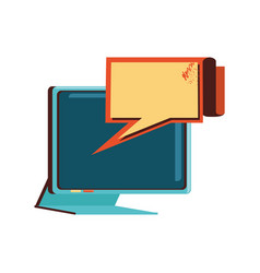 computer monitor with speech bubble vector image