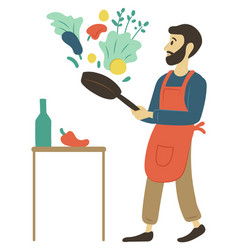 Cooking man culinary hobperson leisure vector