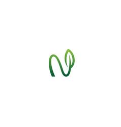 creative n letter leaf green logo vector image