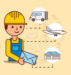 delivery man holding envelope mail van plane and vector image