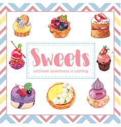 Dessert frame design with cupcake cake tart berry vector